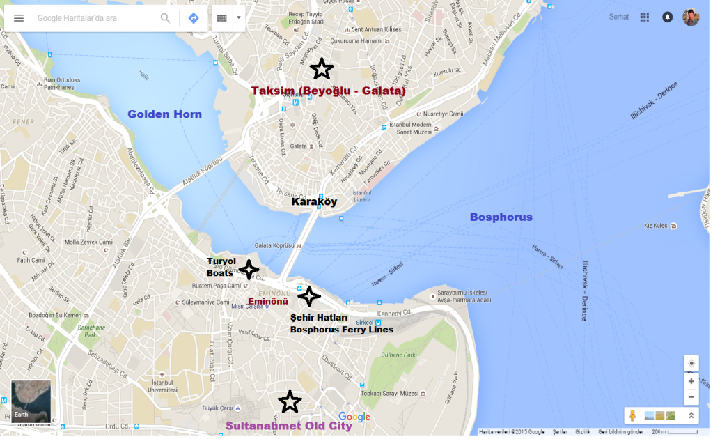 how to find the ferry stations for Bosphorus tours