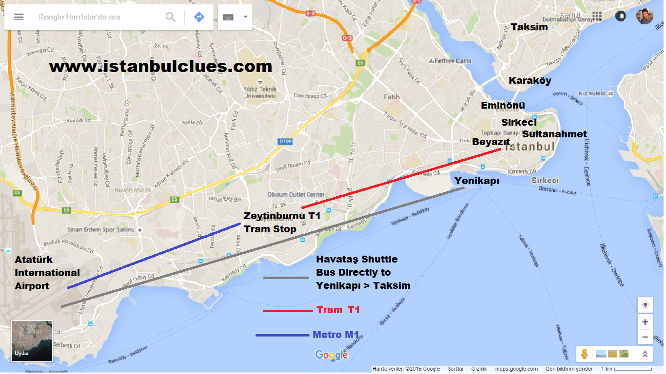 From Ataturk Airport To Sultanahmet Old City Map