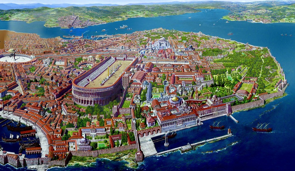 Constantinople the capital of Byzantine Empire located in Istanbul