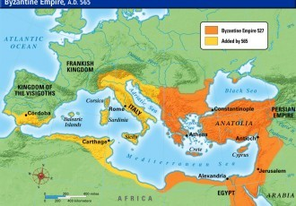 Map of Byzantine Empire in 6th Century
