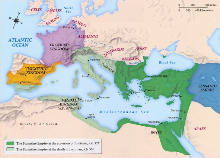Rise Of Byzantine Empire At Its Height Under Justinian Map