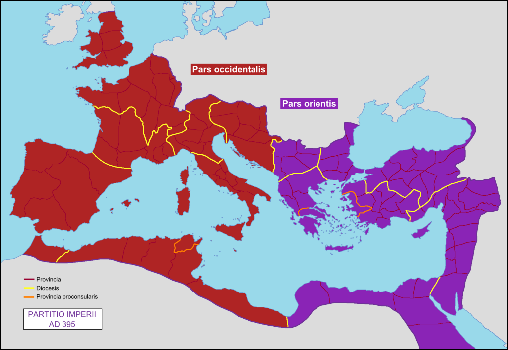 Split of the Roman Empire by Emperor Theodosius Map