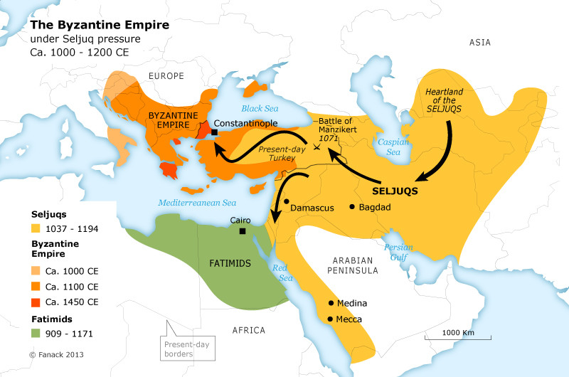 Empire of Great Seljuk Turks Anatolia Map