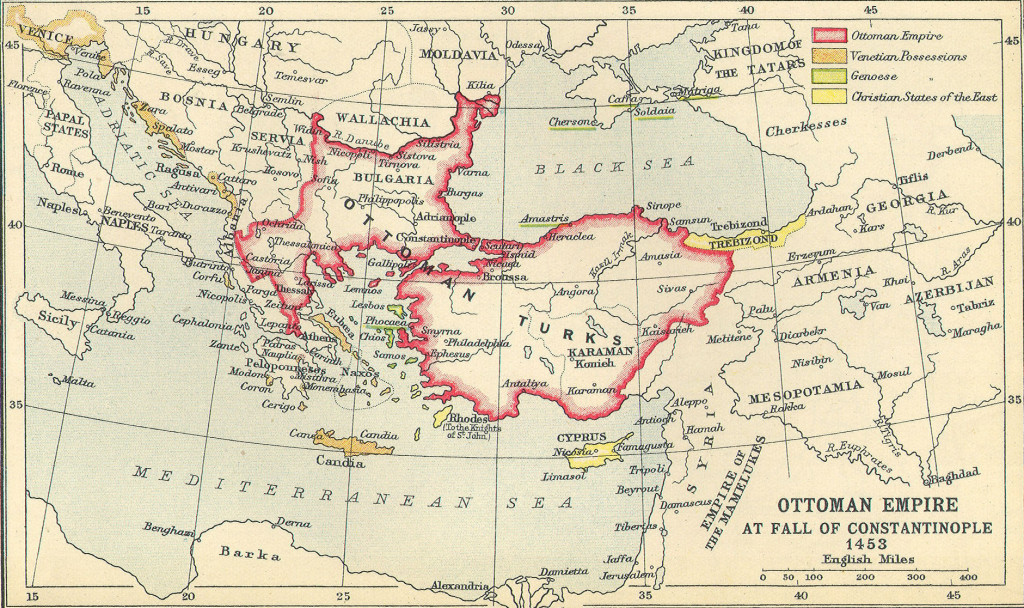 Map Of Ottoman Empire By The Fall Of Constantinople 1453