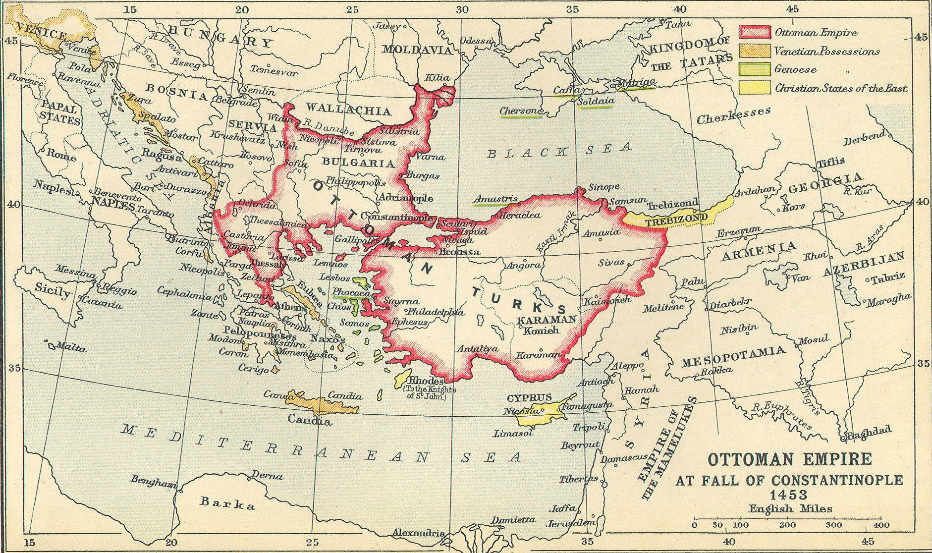 Ottoman Empire Map Fall Of Constantinople Byzantine Empire