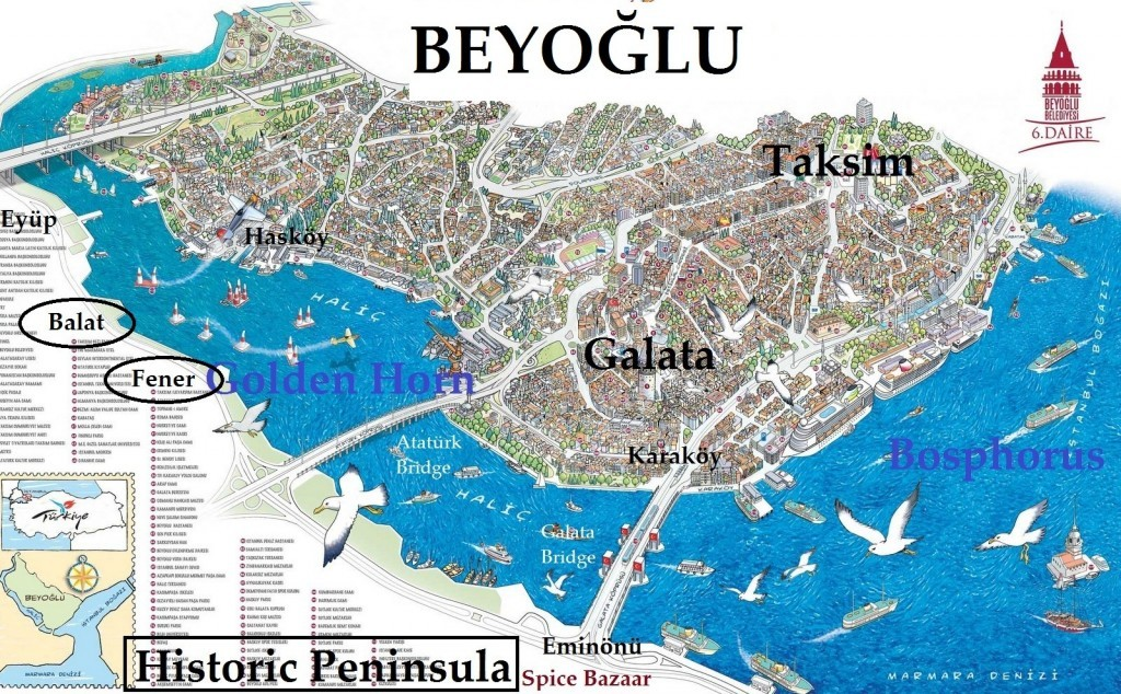 Istanbul Balat Neighborhood Map of Golden Horn Area