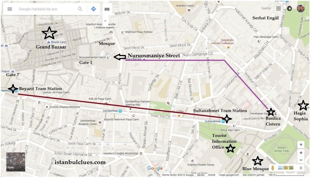Grand Bazaar Location Map