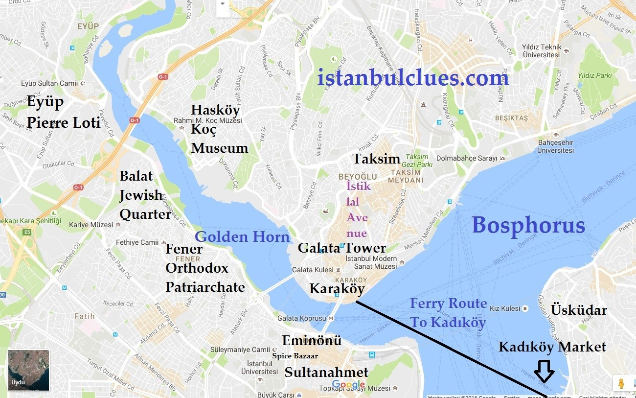 Map of Istanbul Golden Horn Districts and Neighborhoods