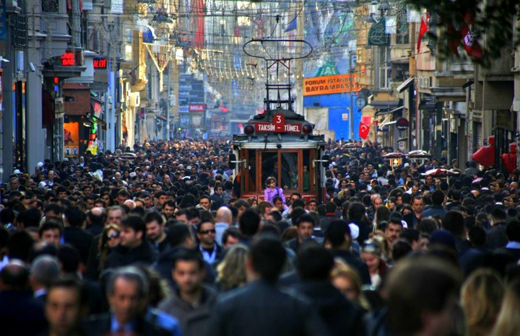 Walking through Istiklal Street in Beyoglu