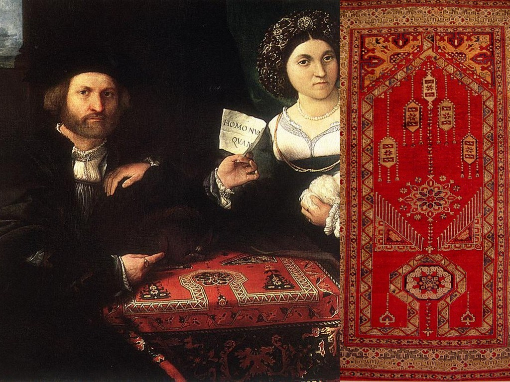 Turkish Carpets-Rugs in European Painting - Artist Lorenzo Lotto Painting