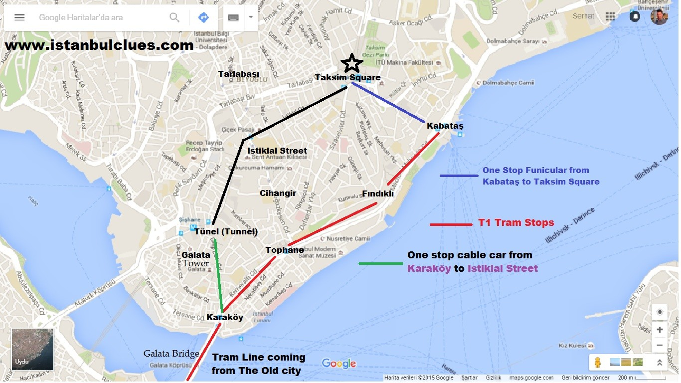 How To Get From Sultanahmet To Taksim By Tram Explanation on Map