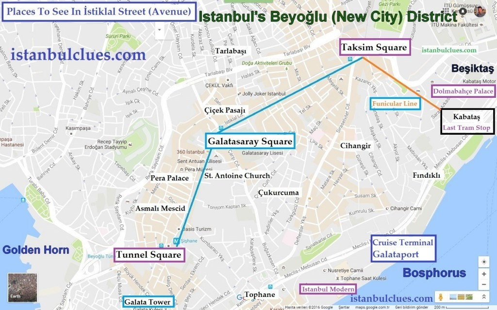 Istanbul tram map how to get to Galata Tower, Istiklal Avenue , Taksim Square