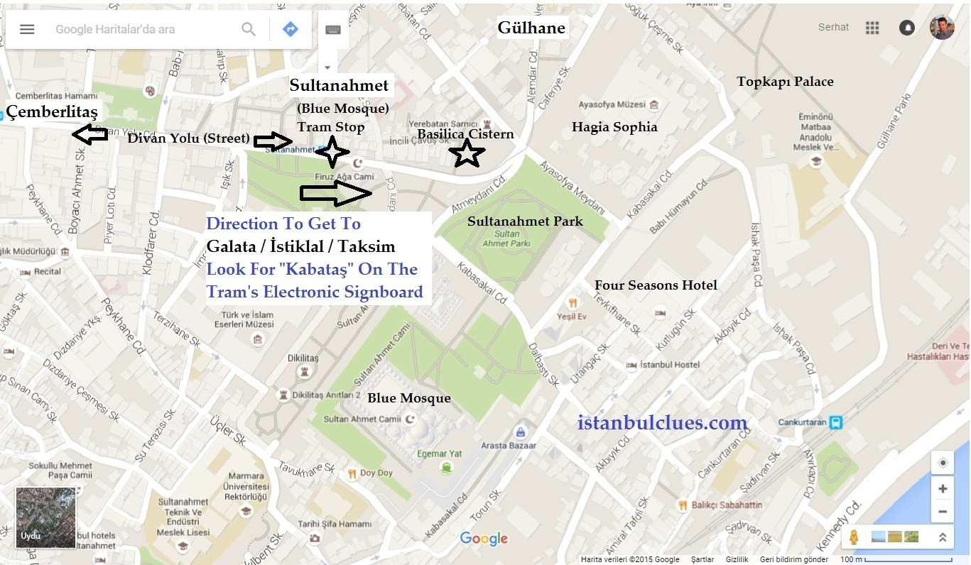 Sultanahmet Tram Stop Map and Directions to get Taksim Square