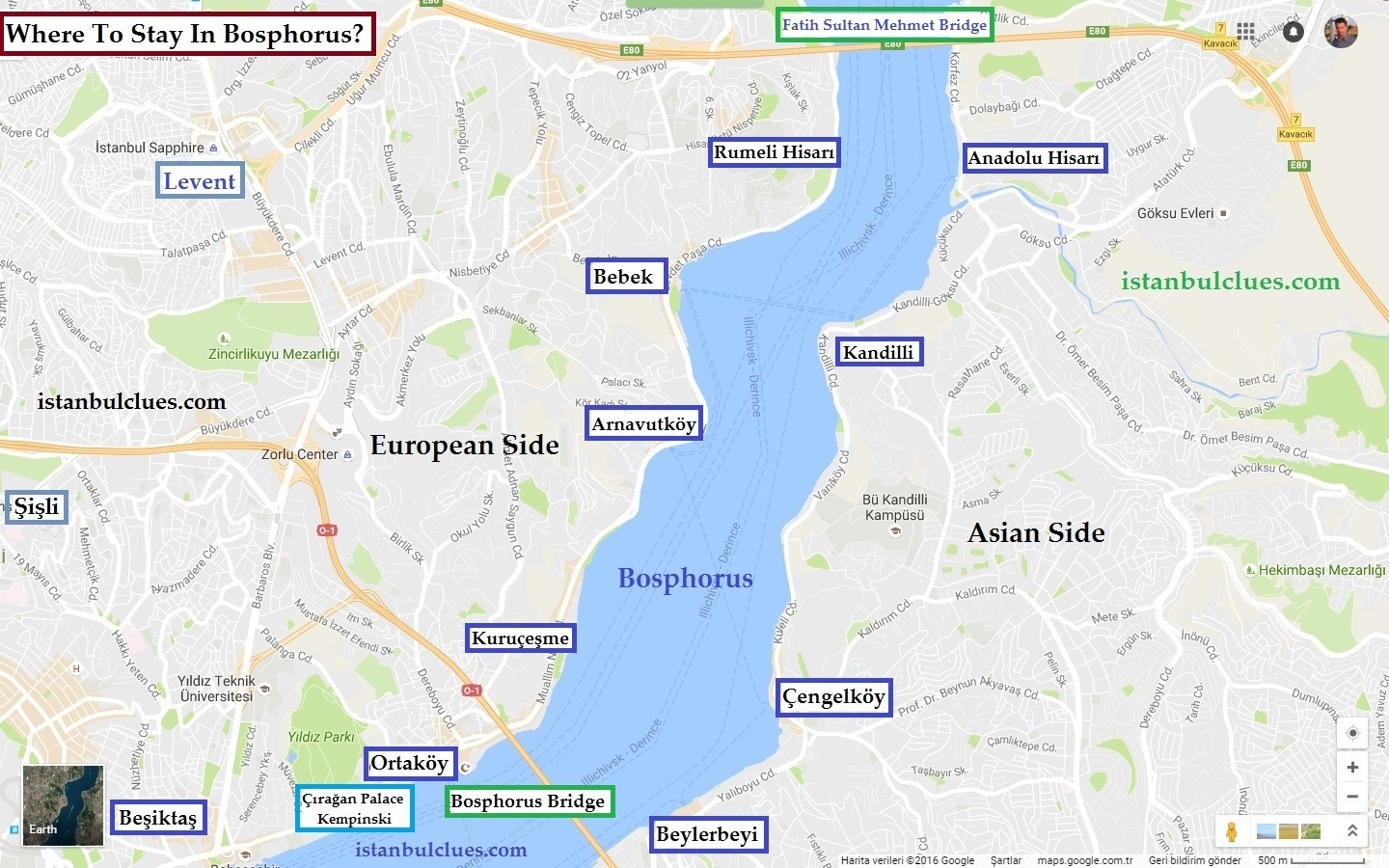 Bosphorus Cruise Tours Map