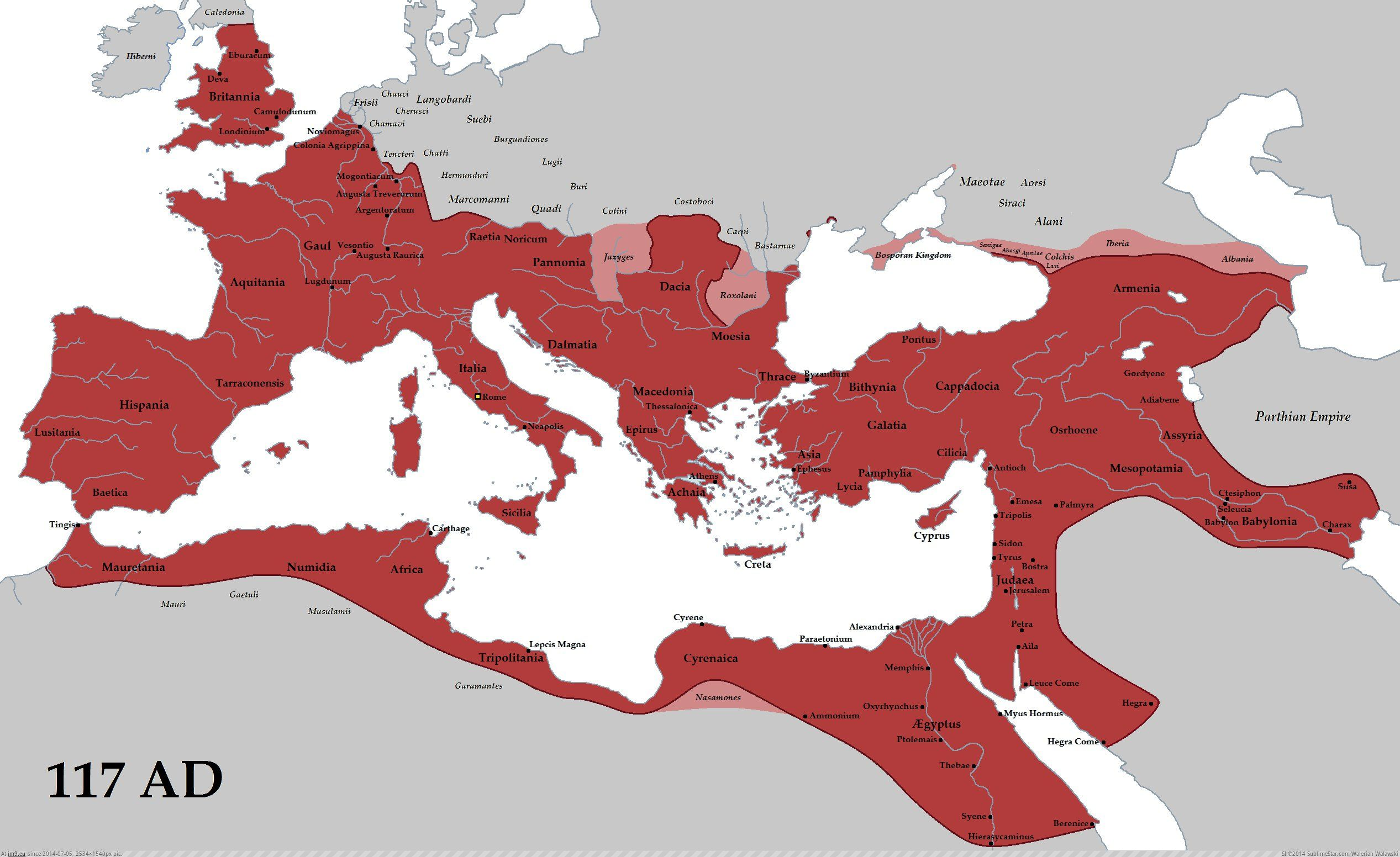 Roman Empire Map at its height