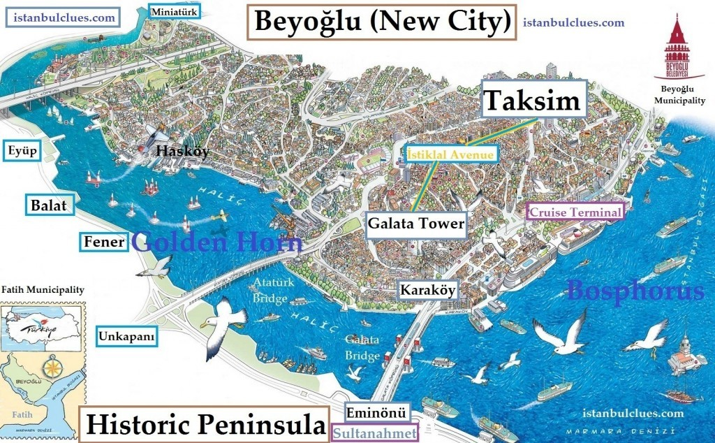 Fatih and Beyoglu Map