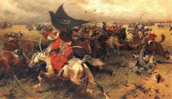 Battle of Mohacs depiction on a painting - Sultan Suleiman