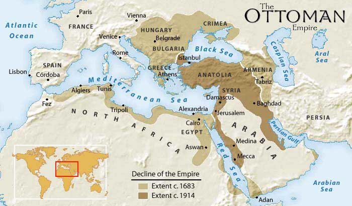 Ottoman Empire Map Decline from 1800 to 1914
