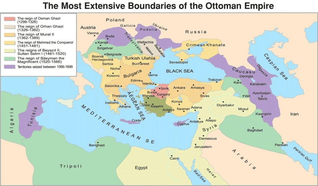 Rise Of The Turkish Ottoman Empire Ottoman Empire At Its Height Map