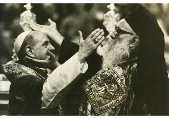 Pope Paul VI and Patriach Athenagoras come together 1950s