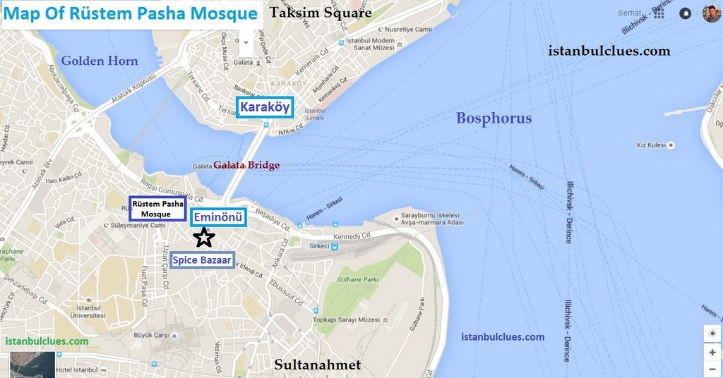 Where is Rustem Pasha Mosque? How to get Rüstem Paşa Mosque Map