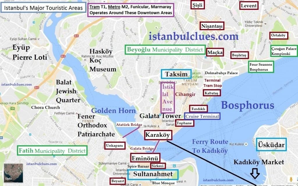 Istanbul Tourist Map, Besiktas Hotels, Things To Do