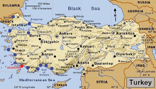 Map of Anatolia Turkey Cities