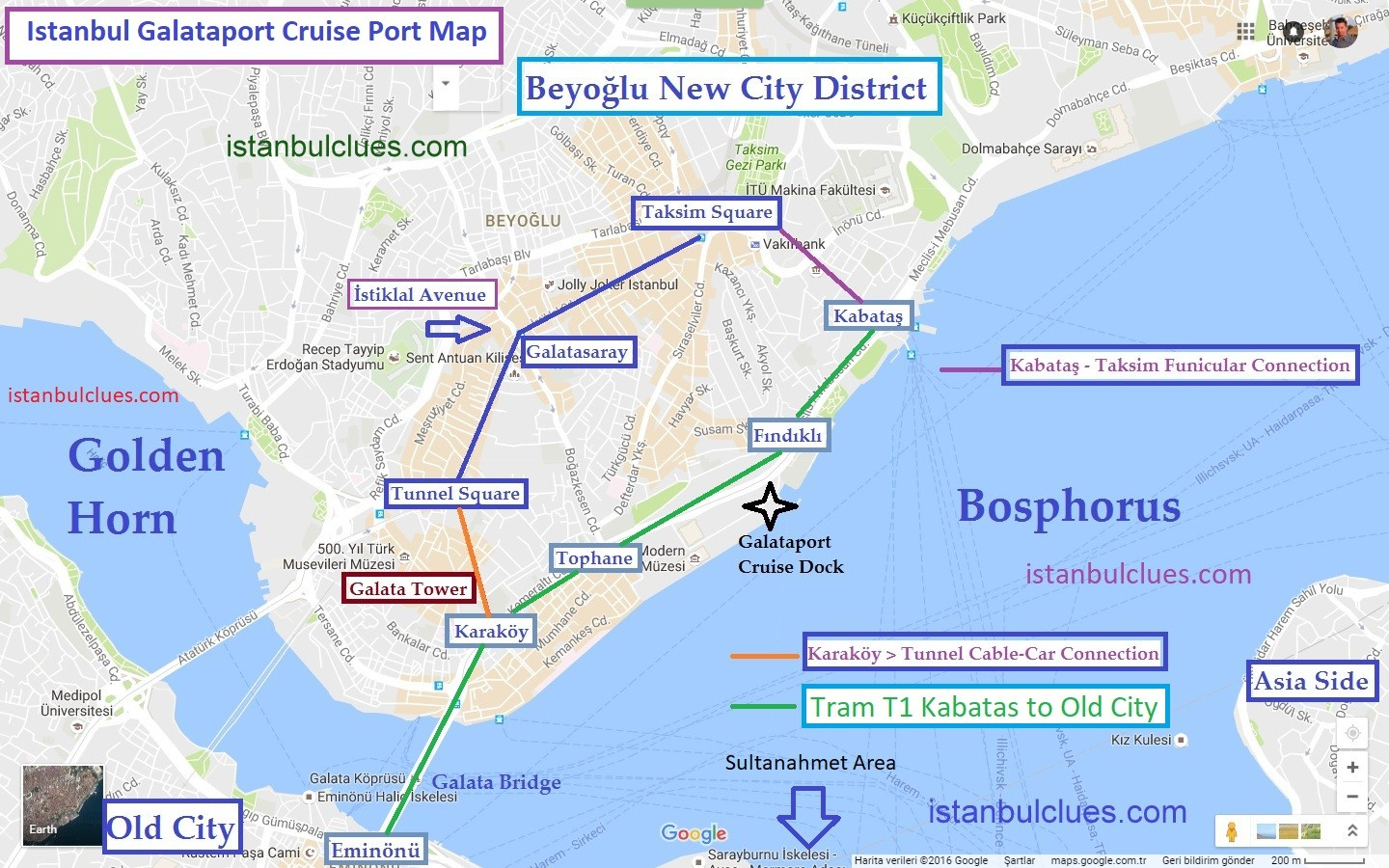 Istanbul Cruise Ship Terminal Galataport Map Public Transport