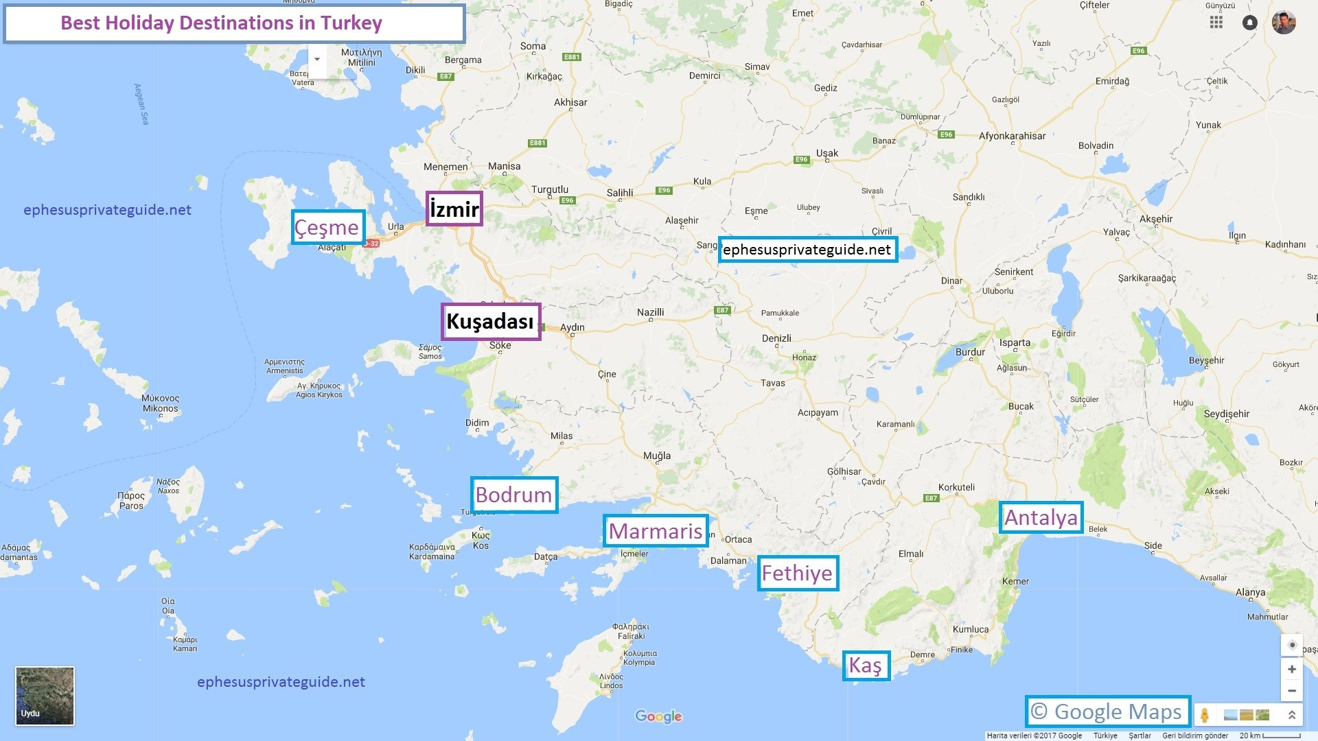 Map of Best Holiday Destinations in Turkey