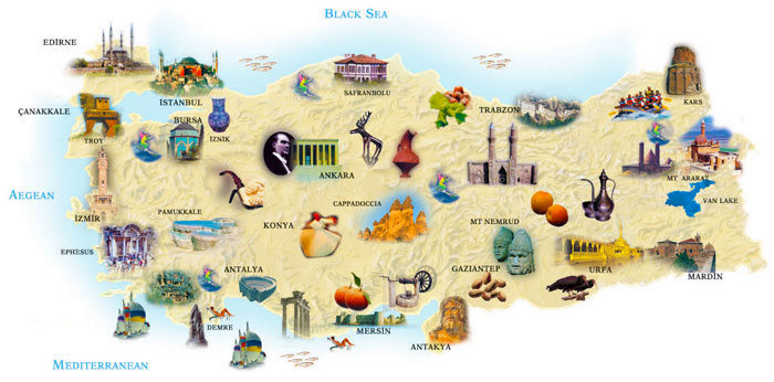Places to Visit in Turkey Map