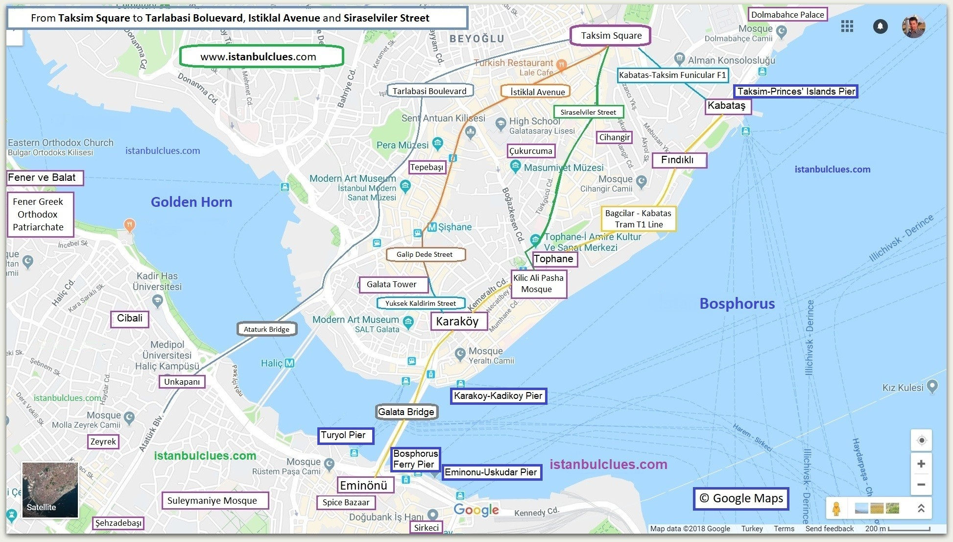 How to Go from Taksim by Metro Map