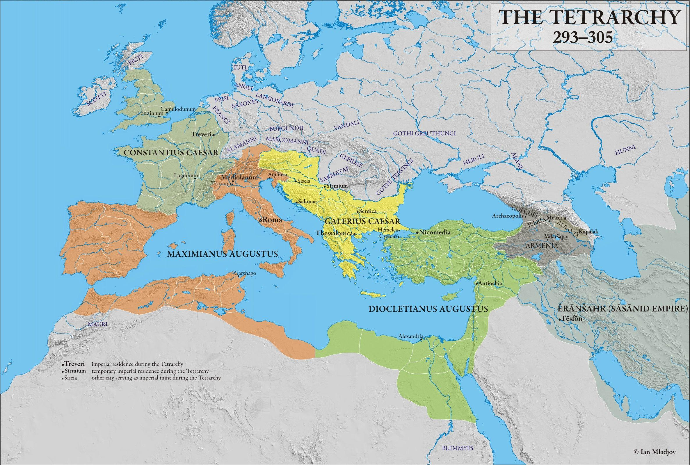 Tetrarchy Map and Rule in the Roman Empire - Istanbul Clues