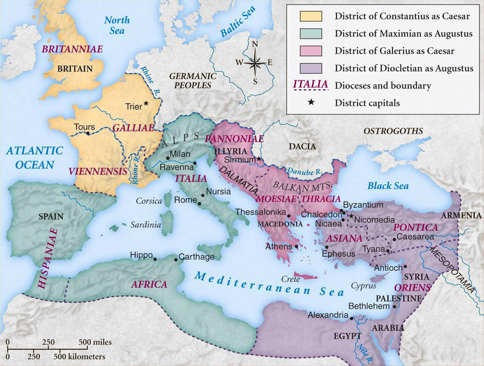 Roman Empire Tetrarchy Map