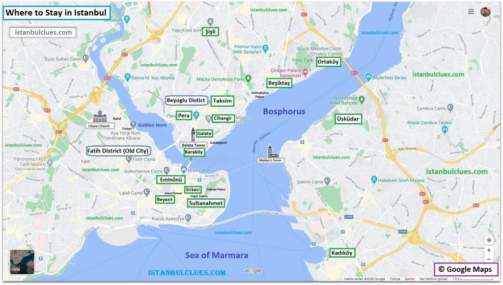 Best Places to Stay in Istanbul Map